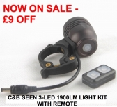 3-LED 1900 Lumen Bike Light Kit with Programmable Remote 'Dipswitch'